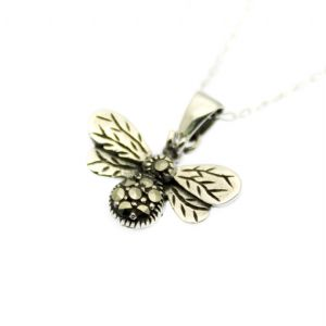 Bee Pendant Solid Sterling Silver with Marcasite Inlay on Silver Chain